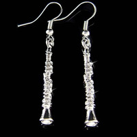 Swarovski Crystal Clarinet Woodwind Instrument Music Musical Pendant pierced Earrings Christmas Best Friend Gift New