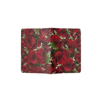 Carmine Roses Passport Holder