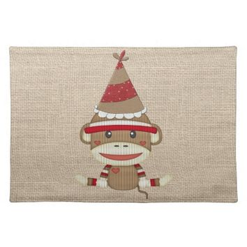 Adorable Rustic Custom Sock Monkey Party Cloth Placemat