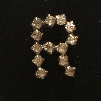 "Old 1940's Initial Pin ""R"" Rhinestone Brooch Prongset Rhinestones Silver Bright Bling Dress Up A Vintage Sweater Costume Jewelry Simply Cute"