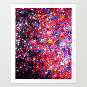 WRAPPED IN STARLIGHT Bold Colorful Abstract Acrylic Painting Galaxy Stars Pink Red Purple Ombre Sky Art Print by EbiEmporium