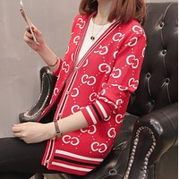 GUCCI Autumn And Winter New Fashion More Letter Print Long Sleeve Cardigan Top Coat Women Red