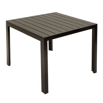Patio Dining Table in Dark Brown/Black Weather Resistant Outdoor Plastic