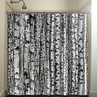 trunk forest white birch trees shower curtain bathroom decor fabric kids bath white black custom duvet cover rug mat window