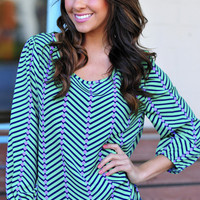 The Last Minute Blouse: Green/Navy | Hope's