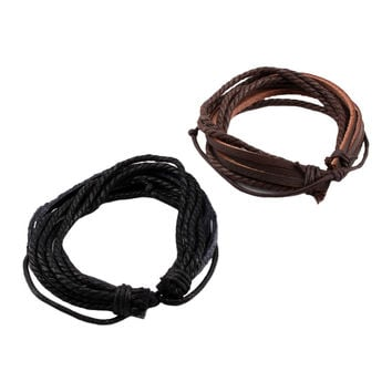 Adjustable Men Women Synthetic Leather and Hemp Rope Wrap Bracelet Cuff Jewelry Bangles Hot Sale