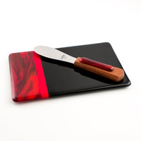 Black and Red Cheese Board Set, Glass Serving Tray, Fused Glass Platter, Cheese Knife, Kitchen Accessories, Serve-ware, Unique Hostess Gifts