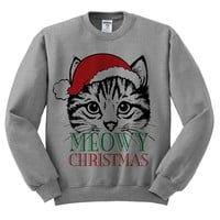 Grey Crewneck Meowy Christmas Merry Cat Kitten Ugly Christmas Sweatshirt Sweater Jumper Pullover