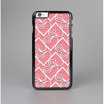 The Pink and White Swirly Heart Design Skin-Sert for the Apple iPhone 6 Plus Skin-Sert Case