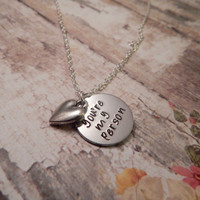 You're My Person Hand Stamped Necklace With Heart Charm - Heart Necklace - Custom Necklace