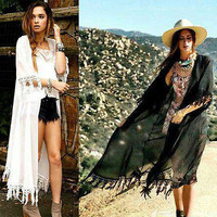 Women Sexy Cardigan Kimono Long Lace Tassels Blouse Tops Shawl Beachwear