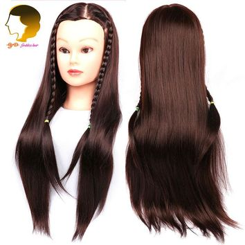 Brown Training Mannequin Head For Hairdressers Dummy Hairstyles Long Hair Dolls Heads Mannequin Head For Makeup Practice