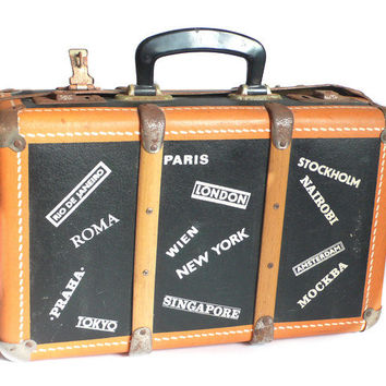 Vintage retro 50s orange black  wood, metal and plastic  fifties suitcase bag handle Briefcase Travel Countries White Labels