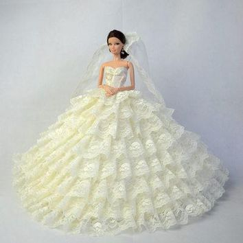 new for barbie doll Wedding clothes lot princess luxury trailing bride wedding dress can children toys handmade birthday dress