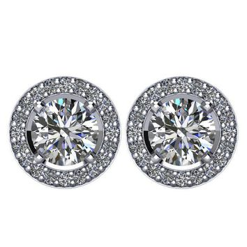 2 1/2 CTW Diamond Halo-Styled Stud Earrings in 14kt White Gold