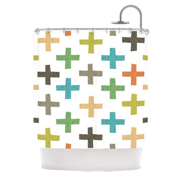 "Daisy Beatrice ""Hipster Crosses"" Multicolor Shower Curtain"