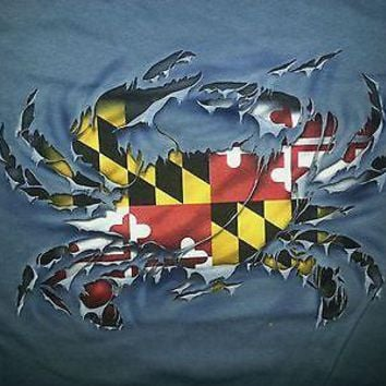 New RIPPED  CRAB MARYLAND  FLAG  T  SHIRT