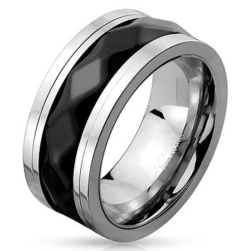 Two Tone Diamond Pattern Black IP Stainless Steel Spinner Ring