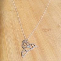Sterling silver origami hummingbird necklace - meditation jewelry - yoga necklace - hummingbird necklace - bird charm necklace