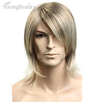 Men Cosplay Synthetic Hair Blonde Straight Wig For Men Cosplay