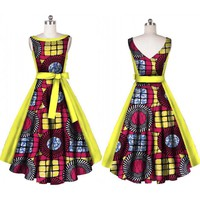 African Print Dashiki Sweet Bow knot Sashes V-neck Party Dress