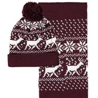 Reindeer Fair Isle Beanie and Scarf Set