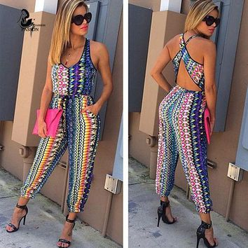 CREYHY3 hot sale 2 pieces printed Jumpsuits  Rompers 2016 summer Sleeveless Bodycon Long Pants Crop Top Two pieces Outfits  For Women