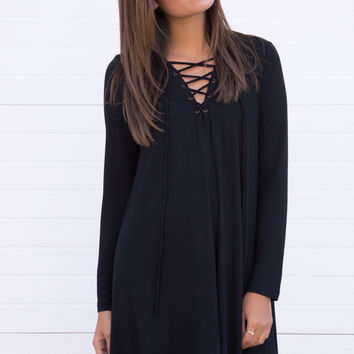 Netta Lace Up Dress - Black