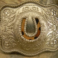 Rhinestone Horseshoe Belt Buckle Lucky Charm Cowhide Silver Western Engraved Womens Mens Buckle