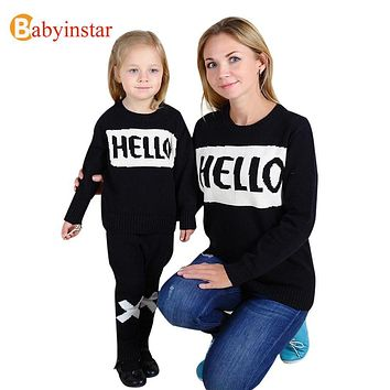 """""""Hello"""" Style 2017 New Family Matching Outfits Autumn Winter Casual Sweater For Mother Daughter Son Family Clothe Family Set"""
