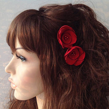 red wine flower hair pin, bridal accessory, brides flowers, bridesmaid gift