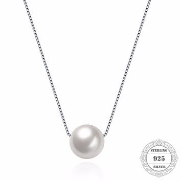 Hemiston 925 Sterling Silver Link Chain Shell Pearl Pendant Necklace for Women European Fine Jewelry Gift TFN101