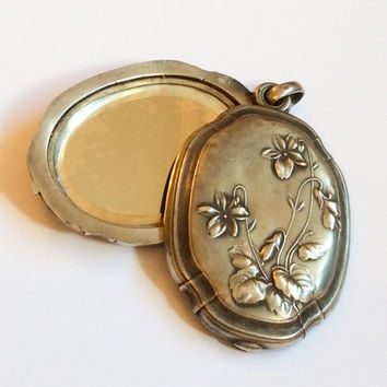 French Art Nouveau Slide Locket Pendant, Violets, European Silver Vintage Jewelry, CHRISTMAS IN JULY Sale