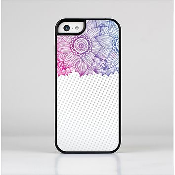 The Vibrant Vintage Polka & Sketch Pink-Blue Floral Skin-Sert Case for the Apple iPhone 5c