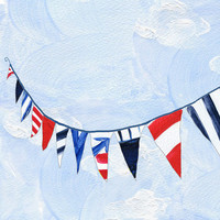 Nautical Bunting, 16 X 11 art print of Marine triangle bunting, limited edition, Americana, digital print, beach coastal style
