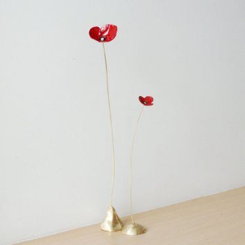 Red poppies metal sculpture, brass poppy flowers with red enamel, poppies gold red sculptures, red flower decor, scarlet poppies, set of two