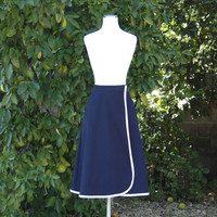 1970s Navy Blue Wrap Skirt with White Edging // 70s Navy White Secretary Skirt