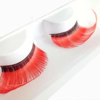 Makeup Red Fiber Hair Eye Lashes Soft Eyelash Party Halloween Long Cosmetic False Eyelash