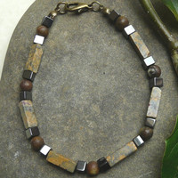 Mens Gemstone Bracelet Picture Jasper and Hematite Free Worldwide Shipping