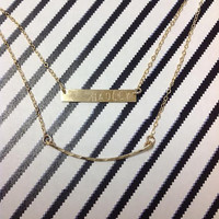 14K Gold filled double chain bar necklace / Curve Bar / Hammered / Personalized / Names / dates / Gift / Kids / Mom
