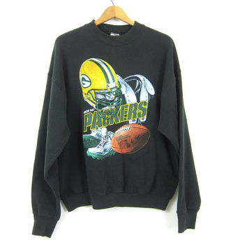 Green Bay Packers Super Bowl sweatshirt 1990s Wisconsin Football Oversized Baggy vintage athletic Black crewneck pullover COED Size XL