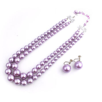 Purple Beaded Demi Parure / Necklace Earring Set