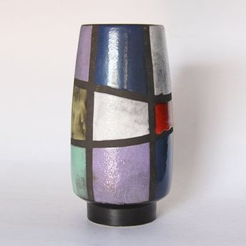 Very Rare Vintage Swiss Polychrome Geometric Floor Vase Purple Red Black Yellow Blue Green - Ziegler Schaffenhausen 50s
