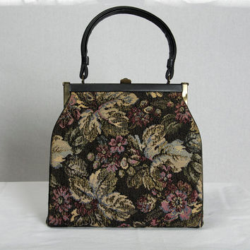 Vintage 1950's Tapestry Handbag Top Handle Kelly Purse Bag Ornate Butterfly Accents