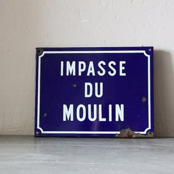 French Enamel Vintage Street Sign Loft Living Impasse Du Moulin