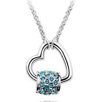 "Nickel Free White Gold Plated Silver Bead with Stunning Teal Crystals on Heart Pendant. Chain adjusts 15-17"". High Polish Shine."