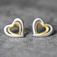 Double Heart Earrings, Sterling Silver Heart Stud Earrings, Geometric Earrings, Minimalist Studs earrings, Heart Jewelry, gifts for her