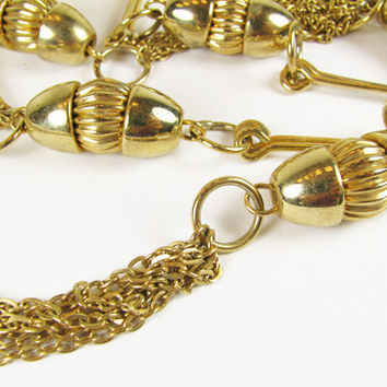 Vintage Flapper Necklace, Gatsby Style, Gold Tone / Vintage Wedding Necklace - Collier.