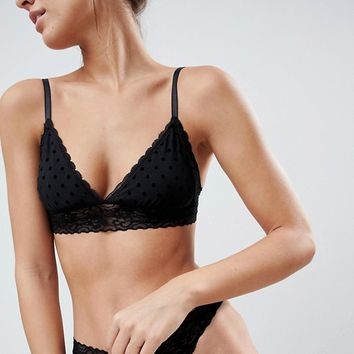 ASOS Libby Spot & Lace Molded Triangle Bra Set in Black at asos.com
