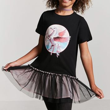 Girls Pegasus Graphic Tulle Top (Kids)